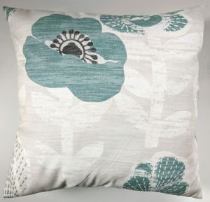 "Cushion Cover in Next Teal Bold Floral 16"" Matches Curtains"